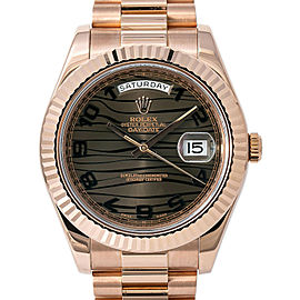 Rolex Day-Date II 218235 Men's Automatic Watch Bronze Wave 18K Rose Gold 41mm