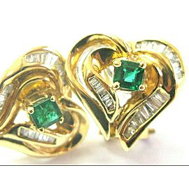 Green Emerald & Diamond Huggie Earrings 18Kt Yellow Gold .95Ct Heart Shape 15mm
