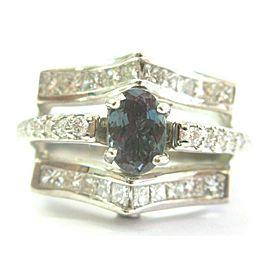 Natural Alexandrite & Diamond White Gold Split Shank Ring 18Kt 2.69Ct
