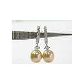 Platinum Golden Pearl & Diamond Huggie Drop Earrings White Gold .50CT 10MM
