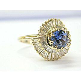 Tanzanite & Baguette Diamond Yellow Gold Ballerina Ring 18Kt 3.62Ct AAAA/VS