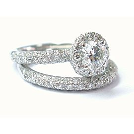 Halo Round Cut Diamond Engagement Wedding Set White Gold 2-Ring 1.15CT SIZEABLE