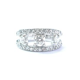 Platinum Round Diamond Three Stone WIDE Band Ring 9.7mm 1.19Ct
