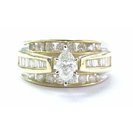Marquise Baguette & Round Diamond Engagement Ring Solid 14Kt Yellow Gold 1.34CT