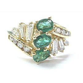 Green Emerald & Diamond Ring 14Kt Yellow Gold Oval & Baguettes 5.75 .97Ct