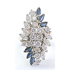 Blue Sapphire & Diamond Cluster Ring Solid Yellow Gold G/VS2 14Kt