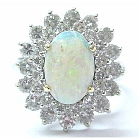 Opal & Diamond Ring Solid 14Kt White Gold 2.85Ct H-I/SI1