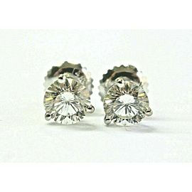 Round Diamond Stud Earrings Solid 14Kt White Gold I-VS2 SCREWBACK 1.00Ct