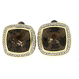 David Yurman Albion Smoky Quartz Diamond Earrings 14mm Clip On 18k Gold Sterling