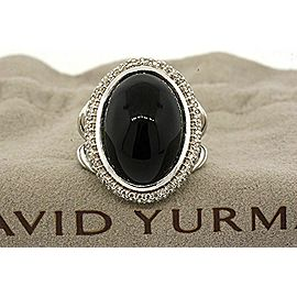 David Yurman Sterling Silver Oval 18x12mm Cabochon Onyx Diamond Ring sz 5.5