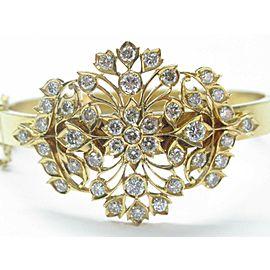 22Kt NATURAL Diamond Flower Yellow Gold Bangle Bracelet 4.33CT