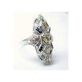 Fine Platinum Old European Cut Diamond & Gem Sapphire Ring 1.00CT
