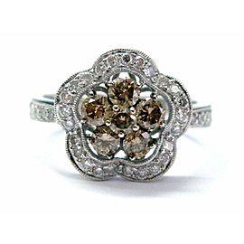 Fine Multi Color Diamond Cluster White Gold Jewelry Ring 14KT .98CT