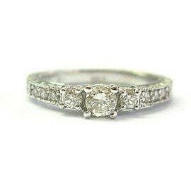 Natural Round Cut Diamond Three-Stone Diamond Engagement Milgrain Ring 14K .50CT