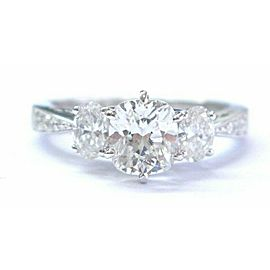 Cushion & Oval Diamond Three-Stone Engagement Ring White Gold 18KT GIA 1.82CT