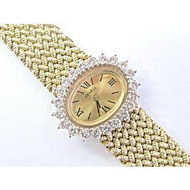 Geneve Yellow Gold Diamond Mesh Wristwatch 14KT 1.50Ct