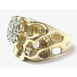 Nugget Round Diamond Yellow Gold BIG Jewelry Ring 14Kt .65Ct Sizeable H/VS-SI