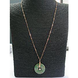 "Fine Jade Disc & Diamond Yellow Gold Pendant Necklace .20Ct 18"""