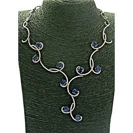 """Madagascar Sapphire & Diamond Necklace Solid White Gold 18Kt 18.88Ct 16"""" F-VS"""