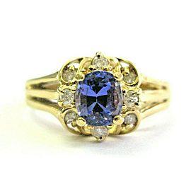 Cushion Tanzanite & Diamond Yellow Gold Ring AAAA / VS 14KT 1.52Ct SIZEABLE