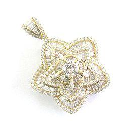 Round & Baguette Diamond Star Pendant Solid Yellow Gold 14KT 4.75Ct G/VS2-VS1