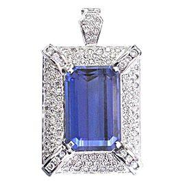 "Emerald Cut Tanzanite & Diamond White Gold Pendant 18Kt 28.27Ct 1.75"" AAAA/VS"