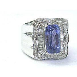 Natural Tanzanite Multi Shape Diamond White Gold Jewelry Ring 18KT AAAA/VS 7.08C