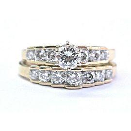 Fine Round Cut Diamond Yellow Gold Engagement Wedding Set .92Ct 14KT
