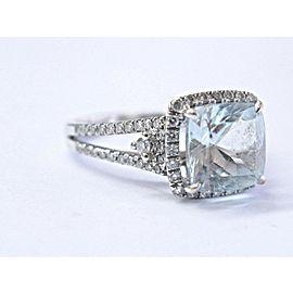 Natural Aquamarine Diamond White Gold Split Shank Anniversary Ring 18KT 2.40Ct