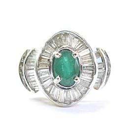 Colombian Green Emerald & Diamond Ring Solid 14KT Yellow Gold 4.20CT SIZEABLE