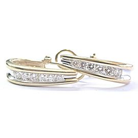 Fine 2-Tone Round Cut Diamond Huggie Earrings 14KT .90Ct