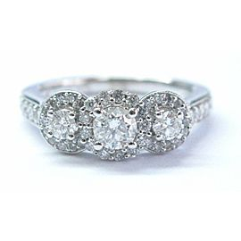 Fine Round Cut Diamond 3-Stone Engagement White Gold Ring 14KT .88Ct
