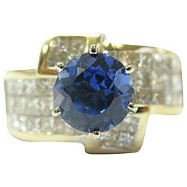 18Kt Natural Tanzanite & Princess Cut Diamond Solid Yellow Gold Ring 4.70Ct