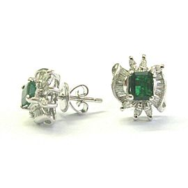 Green Emerald & Diamond Stud Earrings 18Kt Solid White Gold 1.40Ct FVVS2 12MM