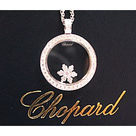 Chopard 18Kt Snowflake Diamond Pendant Necklace White Gold .57CT