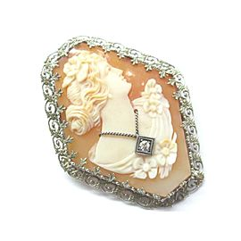 Fine Vintage Cameo Old European Diamond Pin/Brooch .02Ct