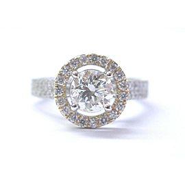 Round Cut NATURAL Diamond Halo SOLID 2-Tone GOLD Engagement Ring 1.68Ct HVS2 IGI