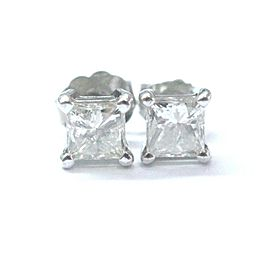 Fine Princess Cut Diamond Stud White Gold Push Back Earrings 1.00Ct J-SI3