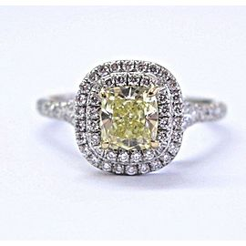 Tiffany & Co Plat Cushion Fancy Intense Yellow Diamond Soleste Ring 1.27Ct VS2