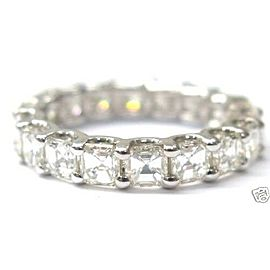 Fine NATURAL Asscher Cut Diamond Eternity Ring 2.85Ct SOLID White Gold Size 4