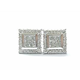 Fine Princess & Round Diamond Multi Shape Square Stud Earrings .78Ct