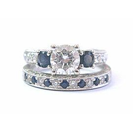 18Kt Round NATURAL Diamond & Sapphire Milgrain White Gold Wedding Set GIA 1.35Ct