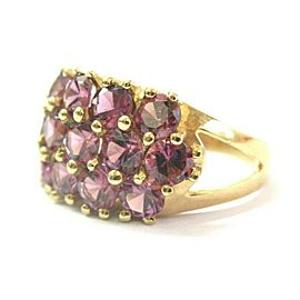 Pink Tourmaline Three Row WIDE Ring Solid 14Kt Yellow Gold 3.50Ct SIZEABLE