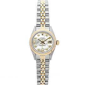 Rolex Datejust 69173 26mmSteel & Yellow Gold White MOP Diamond Women's