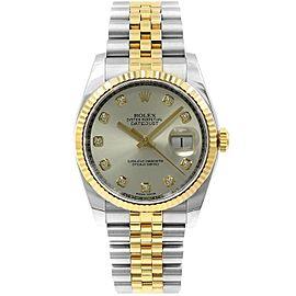Rolex Datejust 116233 36mmSteel & Yellow Gold Silver Diamond Women's Automatic
