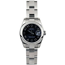 Rolex Datejust 179160 26mmStainless Steel Black Concentric Arabic Women's