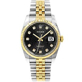 Rolex Datejust 116233 36mmSteel & Yellow Gold Black Jubilee Diamond Women's