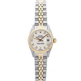 Rolex Datejust 69173 26mmSteel & Yellow Gold White Diamond Women's Automatic