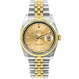 Rolex Datejust 116233 36mmSteel & Yellow Gold Champagne Index Women's Automatic