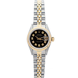 Rolex Datejust 69173 26mmSteel & Yellow Gold Black Diamond Women's Automatic